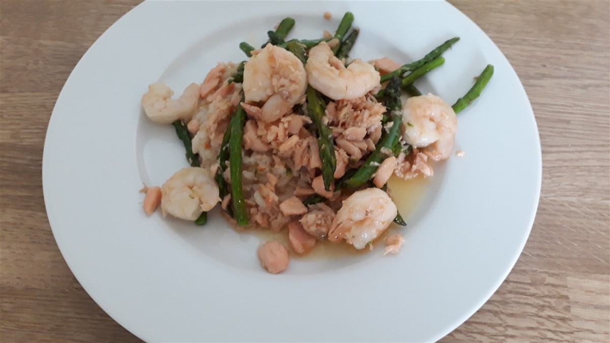 Risotto with flambeed shrimp