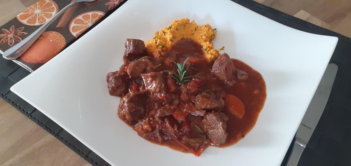 Spanish beef stew with chorizo